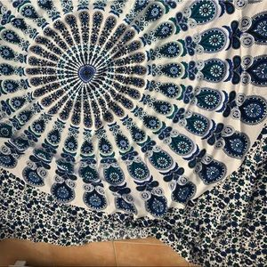 blue and white tapestry